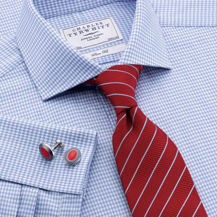 Blue gingham puppytooth check slim fit dress shirt for Mens dress shirts charles tyrwhitt