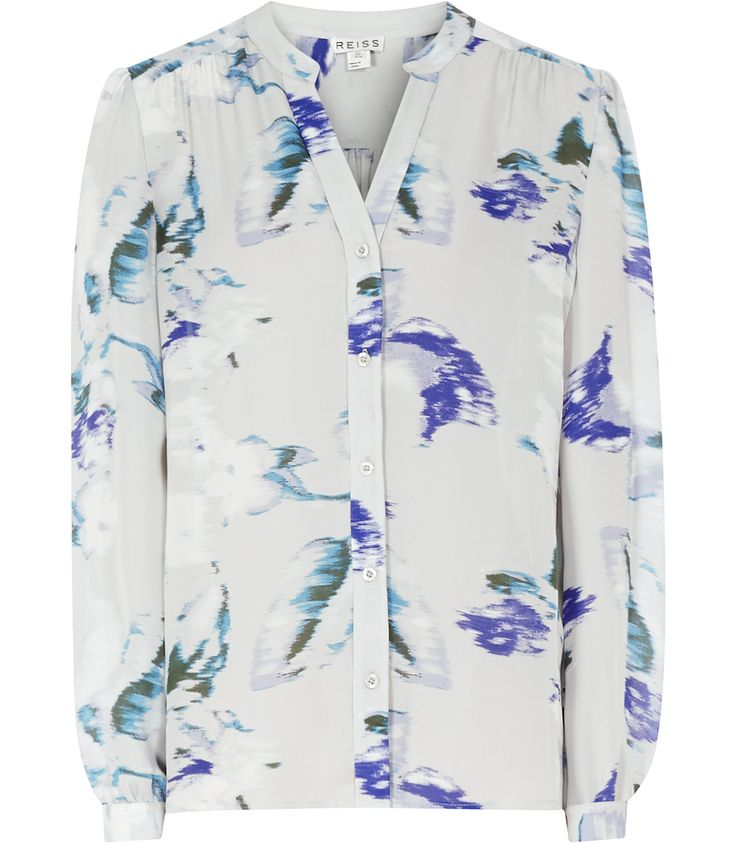 Womens Pansey Print Silk Blurred Bloom Blouse - Reiss Delores
