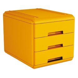 MINI CASSETTIERA colore arancio 19P3PAR Mini Cassettiera 3 cassetti a scorrimento, silenziato e blocco a fine corsa, accostabili e sovrapponibili stabilmente fra loro, grazie alle corsie integrate. Formato utile dei cassetti colore 15,5x23x4 cm. Dimensioni Cassettiera: L 17,7 x P 25,4x H 17. Colore Arancio