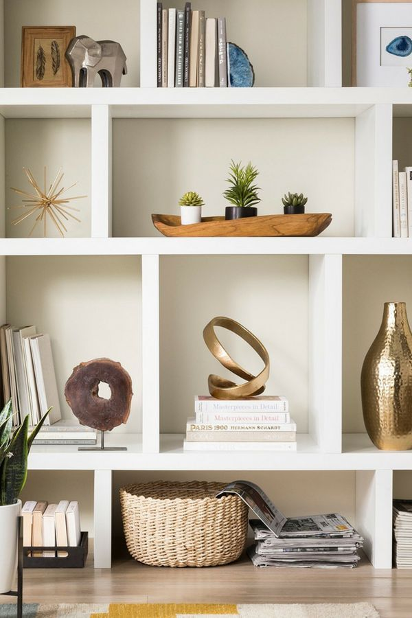 Create A Modern Bookcase Display On A Budget Incorporating Rustic And Coastal Pieces Home Decor Modern R Modern Shelf Decor Modern Bookcase Home Decor