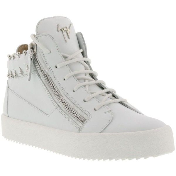 Piercing Sneaker (965 AUD) ❤ liked on Polyvore featuring shoes, sneakers, white, womenshoessneakers, leather footwear, white leather shoes, white shoes, giuseppe zanotti trainers and leather shoes