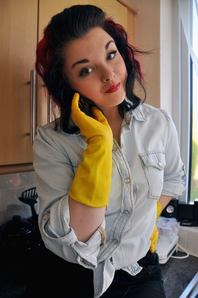 Latex gloves girls