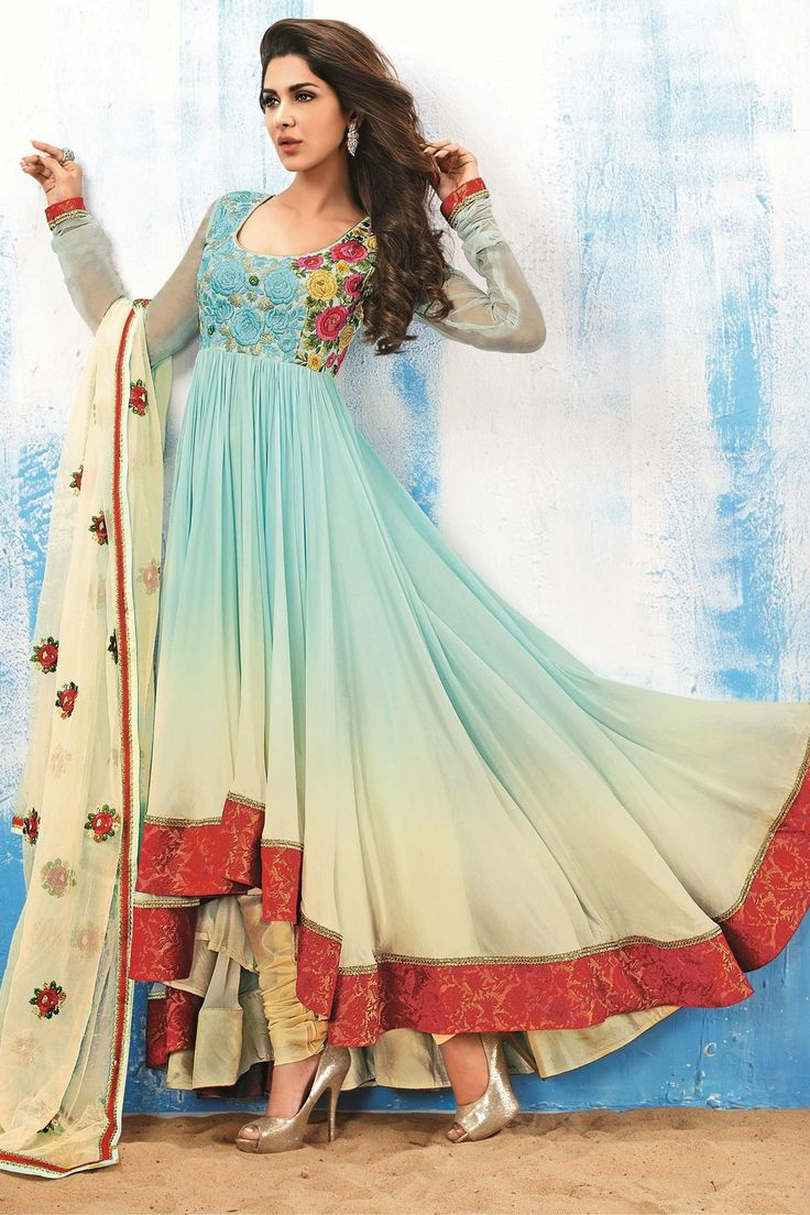 Presenting Cream and Blue Faux Georgette #Anarkali #Suit with Embroidered and Lace Work  Order Now@ http://zohraa.com/cream-blue-faux-georgette-suit-man869cat22446.html  Rs. 3,599.