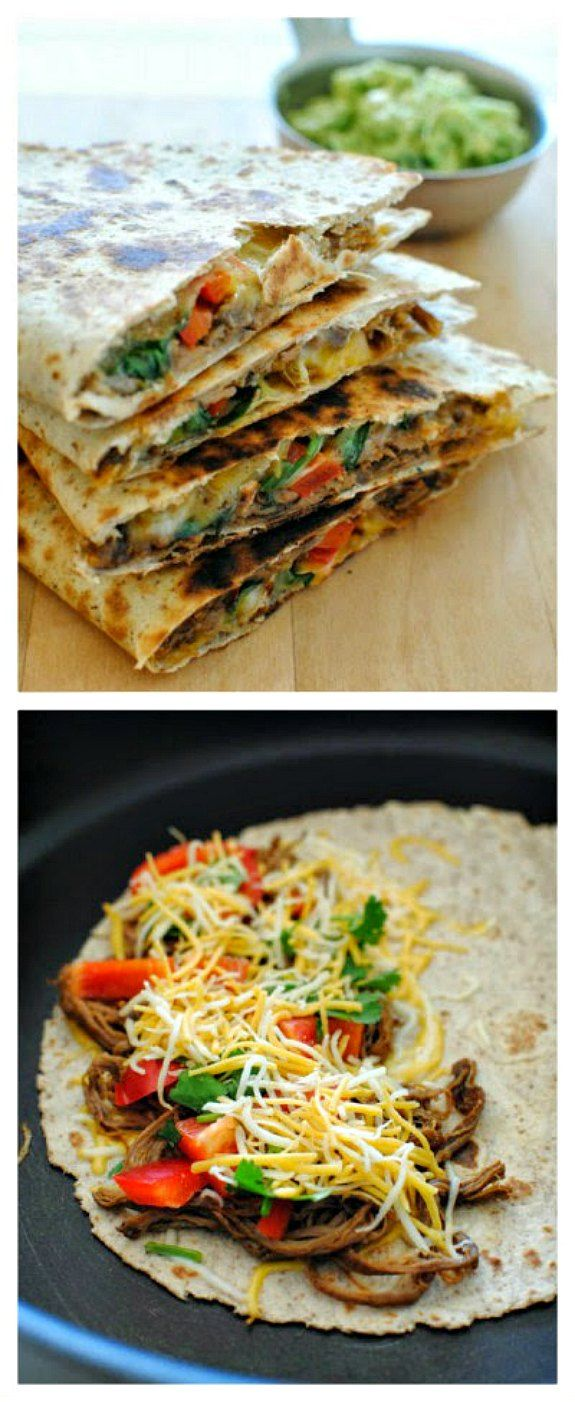 Slow Cooker Chipotle Steak Quesadillas from Bev Cooks sound great for summer food, or make this for an easy Back-to-School dinner!  [found on SlowCookerFromScr...]