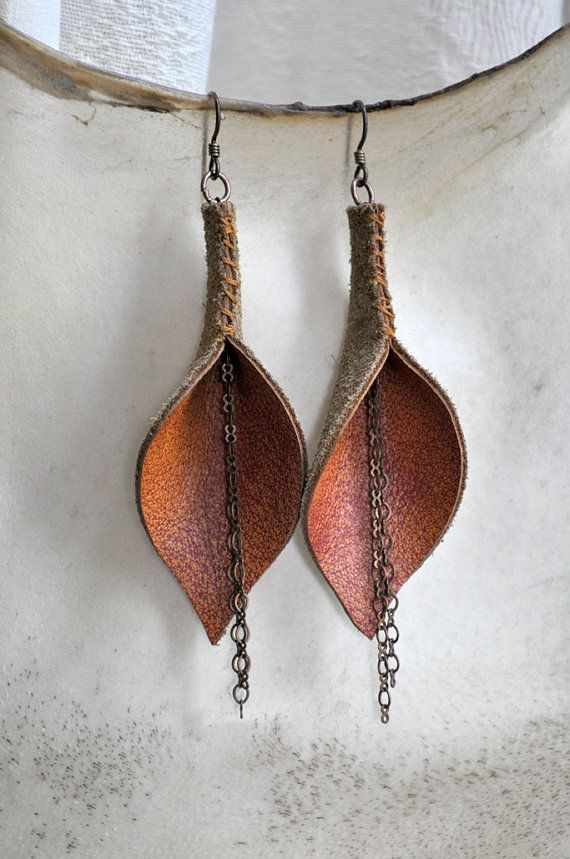 Burnt Orange Genuine Leather Calla Lily Earrings
