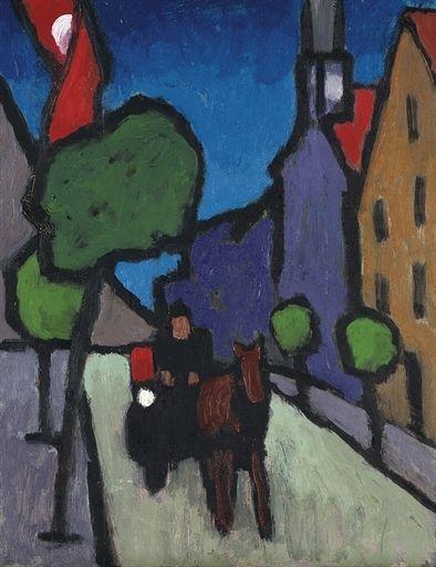 Gabriele Münter, Murnauer Hauptstrasse mit Pferdefuhrwerk