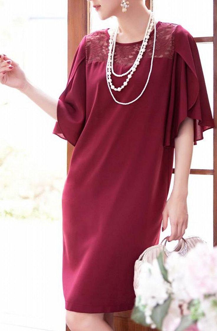 Amazon   (レディース &シープ)ladies and sheep 結婚式 ドレス ワンピース 袖あり ひざ丈 レース   ドレス 通販