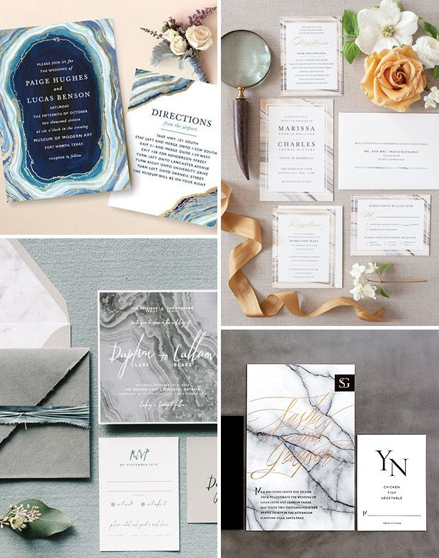 Marble wedding invites | The top 10 wedding stationery trends for 2016 | www.onefabday.com