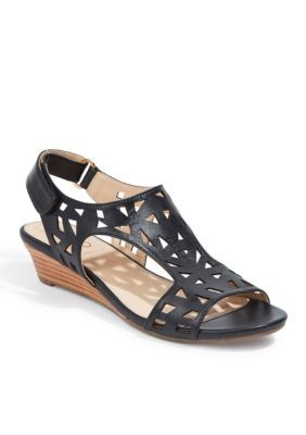 me Too Black Nappa Sienna Wedge