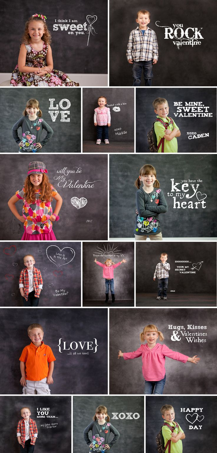 Chalkboard Expressions: Valentine Sayings - Photoshop Template Overlays and Brushes