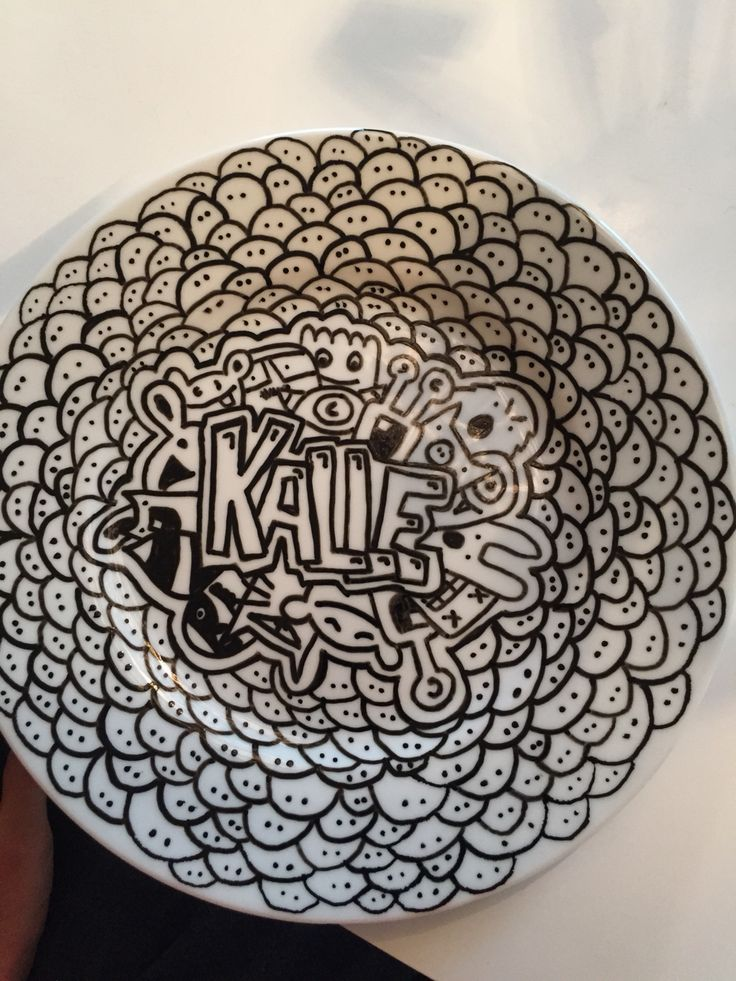 Name plate with monsters and doodle art