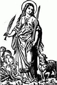 st agnes = 13 jaar, maagdelijk en martelares attributen zijn; een wit lam, de palm, (soms een een olijftak of krans), een aangestoken brandstapel) lang golvend haar,