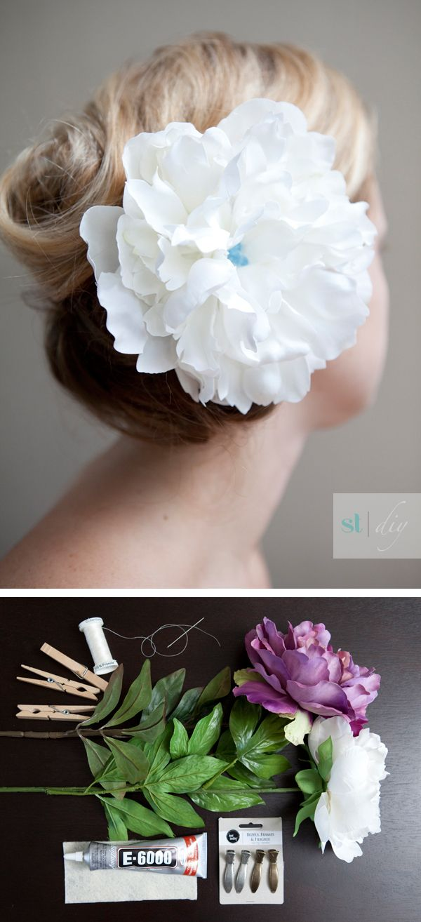 (diy   flower hair piece) I can't wait to try this!  somethingturquoise.com has great DIY ideas for weddings/parties!