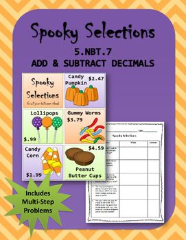 This listing is for a math activity in which students will need to look at a Halloween Candy Sale ad and answer 5 questions. Students will need to add and subtract decimals to complete this activity. Includes multi-step questions.  Aligned with 5.NBT.7.