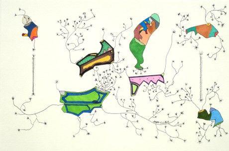 Subconscious Evolution Ecosystem Theorem Original Drawing by Stephen Neil Gill @stephenneilgill #theorem #biology #ecology #psychology #art #midcenturymodern #modernart #contemporaryart #outsiderart #theory #theorem #drawing #ink #nagicmarker #vango