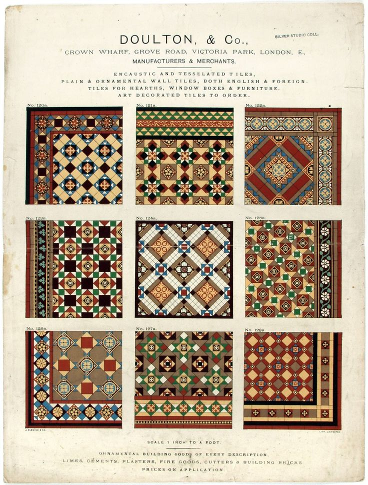 Hall floor and stairs decor.  Floor, wall, hearth and other tile samples from the 1930s. Very busy and striking.