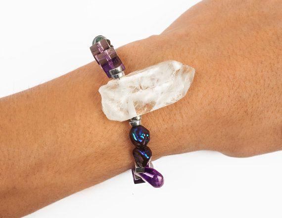 Purple bracelet quartz beads crystals by ErikaKormaDesigns on Etsy