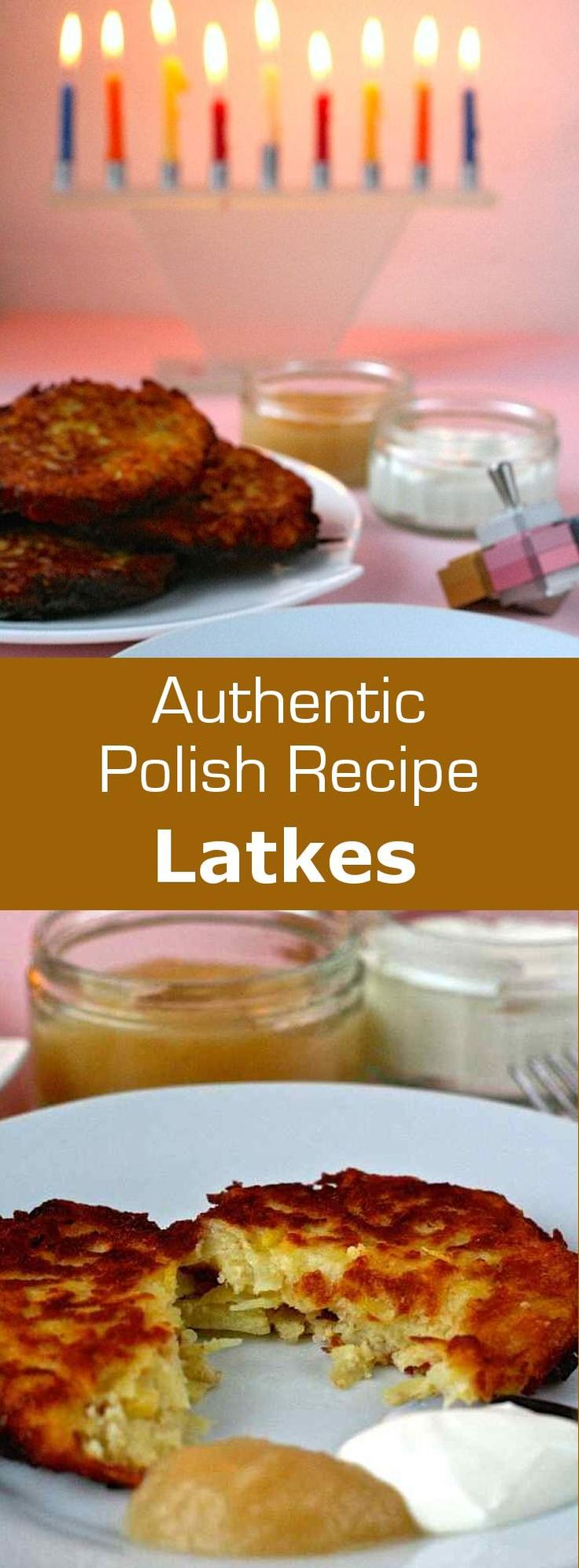 Polish traditional latkes are potato hash browns served with applesauce and sour cream during Chanukah.