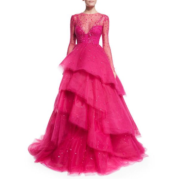 Monique Lhuillier Jewel-Embellished Layered Ball Gown ($7,789) ❤ liked on Polyvore featuring dresses, gowns, magenta, sheer dress, long sleeve evening gowns, ball dresses, see through dress and pink evening dresses