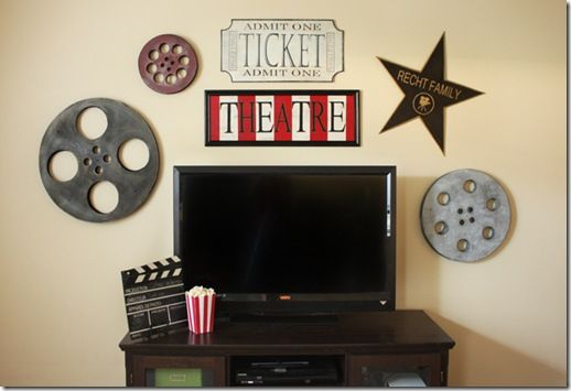 Theater room decor tutorial. Cute, cheap, and easy! My kind of decorating