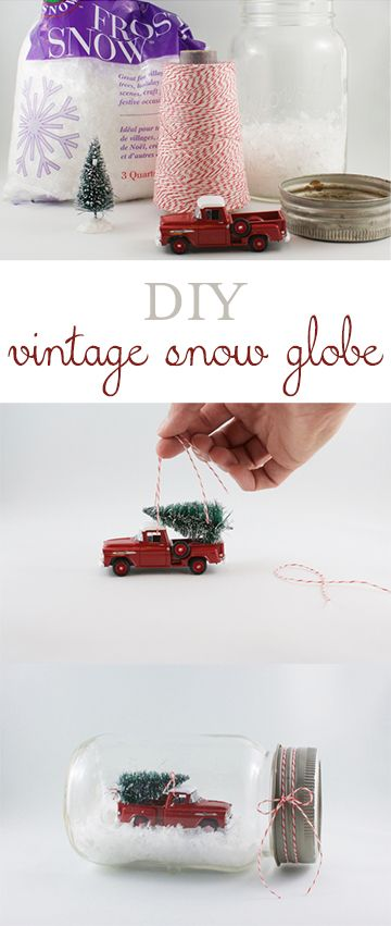Create your own darling vintage truck and tree snow globe... via Feathering My Nest