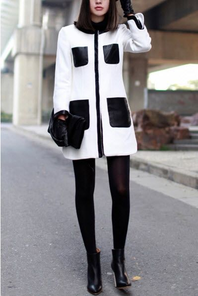 White Chic Contrast Black Faux Leather Pockets Detail Coat