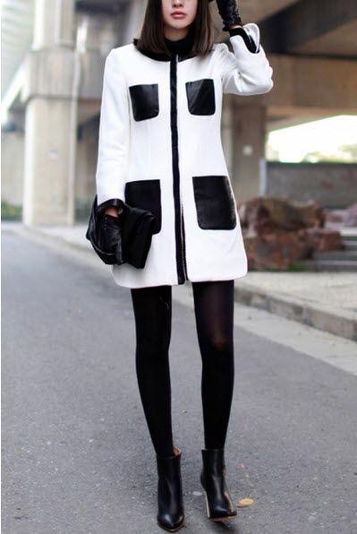 White Chic Contrast Black Faux Leather Pockets Detail Coat