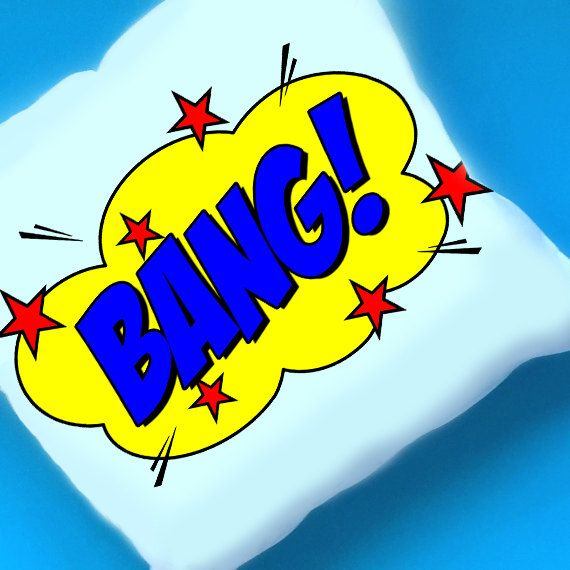 Comic Book Monochrome Decor - Pop Art Cushion Cover - BANG! Cushion - Monochrome Decor - Comic Book Nursery Decor - Gender Neutral Cushion by henryfredandfelicity on Etsy