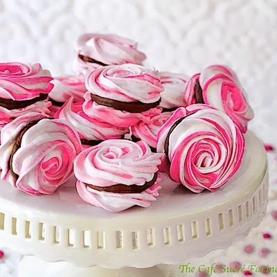 Very special occasion worthy!!  French Meringues w/ Strawberry Ganache Filling