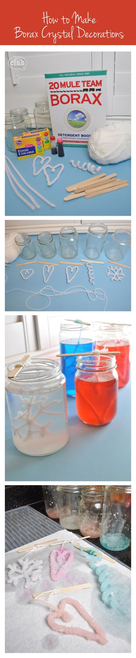 Borax crystal shapes.  Dissolve 1/3 cup borax in jar filled with boiling water.  Hang pipe cleaner shapes suspended from popsicle sticks.  Let sit overnight.  Can add food color to borax solution.