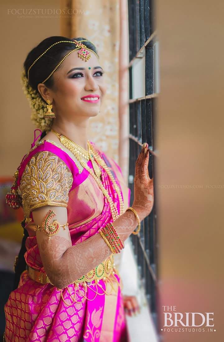 Bride With Heavy Wedding Blouse Saree And South Indian Design