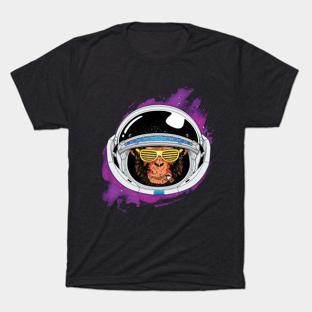 Retro Space ape - 80s - T-Shirt | TeePublic  #space #monkey #ape #chimp #future #scifi #illustration #drawing #cool #cosmos #blackandwhite #galaxy #funny #animal #clever #mars #spaceship