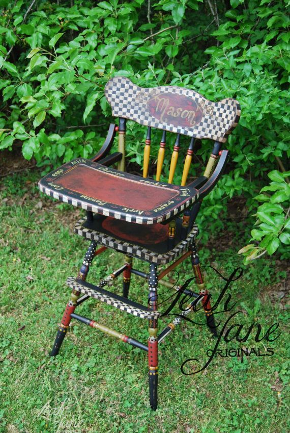 Hand Painted  High Chair -  Custom Wood Vintage Style - Heirloom One of A Kind