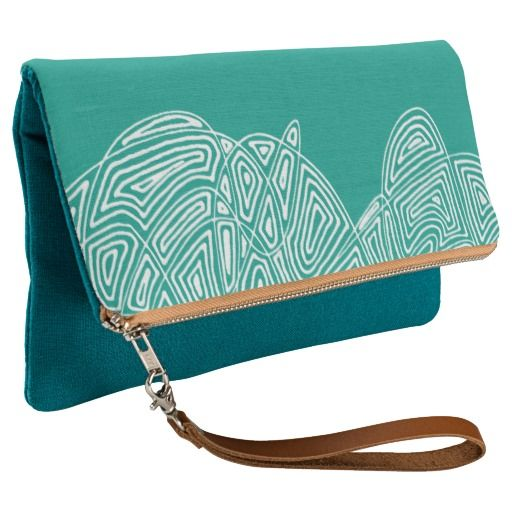 New foldover clutches at scribbleprints (clutch, purse, bag).  (Pictured:  Teal Waves)