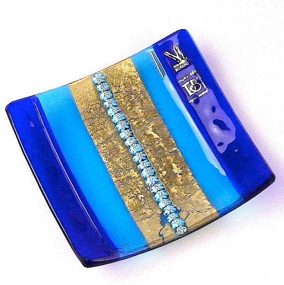 Murano glass centrepiece - original Murano glass plate - Trademark of Origin Guaranteed SQUARE BLOOM (small version)