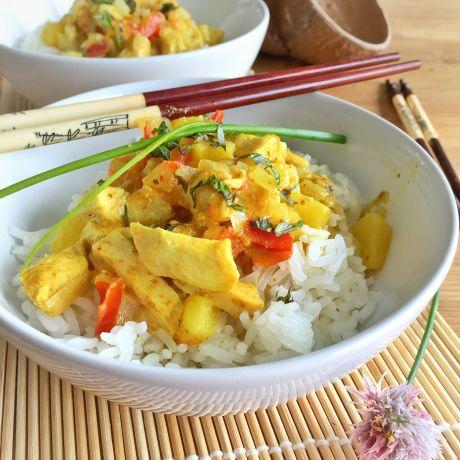 Curry poulet-ananas au lait de coco et riz basmati   Les Recettes de Misa