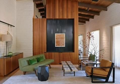 Designed in the 1950s by Bay Area architect William Wurster, this Woodside ranch house serves as a summer retreat for a San Francisco family. The renovation was entrusted to Ian Moller of Moller Architecture and Charles de Lisle of Charles de Lisle Workshop: 50 Style, Ranch Renovation, Living Room, Houses Ideas, Interiors Design, Green Sofas, Dreams Spaces, Ranch Houses, Contemporary Design