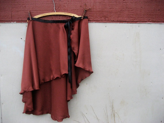 Copper Bronze Ballet Wrap Skirt size Medium Ready by undertheroot, $40.00