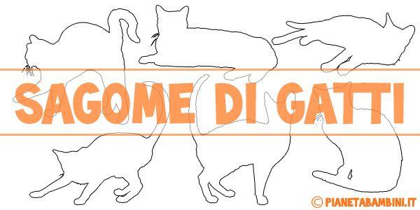 Sagome di gatti da stampare, colorare e ritagliare