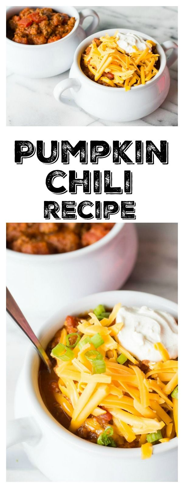This Easy Pumpkin Chili recipe is perfect for fall, and also perfect for football Sundays!