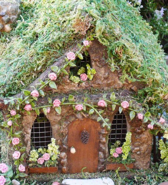 Rose Cottage Fairy House by enchantedgardens on Etsy, $106.00