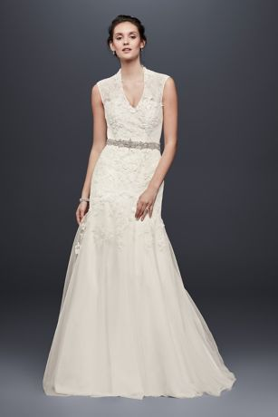 Figure-flattering design and craftsmanship make this cap-sleeve trumpet wedding gown a vintage-inspired and romantic choice. Exquisite corded lace is hand-applied in a three-dimensional floral pattern; ribbon embroidery and a softly layered tulle and chiffon skirt complete the look.   Melissa Sweet, exclusively at David's Bridal  Polyester  Sweep train  Back zipper; fully lined  Dry clean  Imported   Also available in petite and extra length