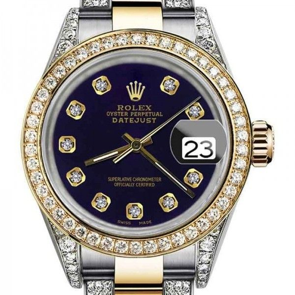 Pre-owned Rolex Oyster Perpetual Datejust Purple Color Diamonds Dial... ($5,999) ❤ liked on Polyvore featuring jewelry, watches, purple diamond jewelry, diamond bezel watches, diamond watches, diamond wrist watch and water resistant watches