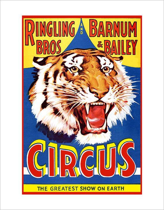 Circus Poster - Ringling Brothers Circus Tiger  -11x14 - Circus print