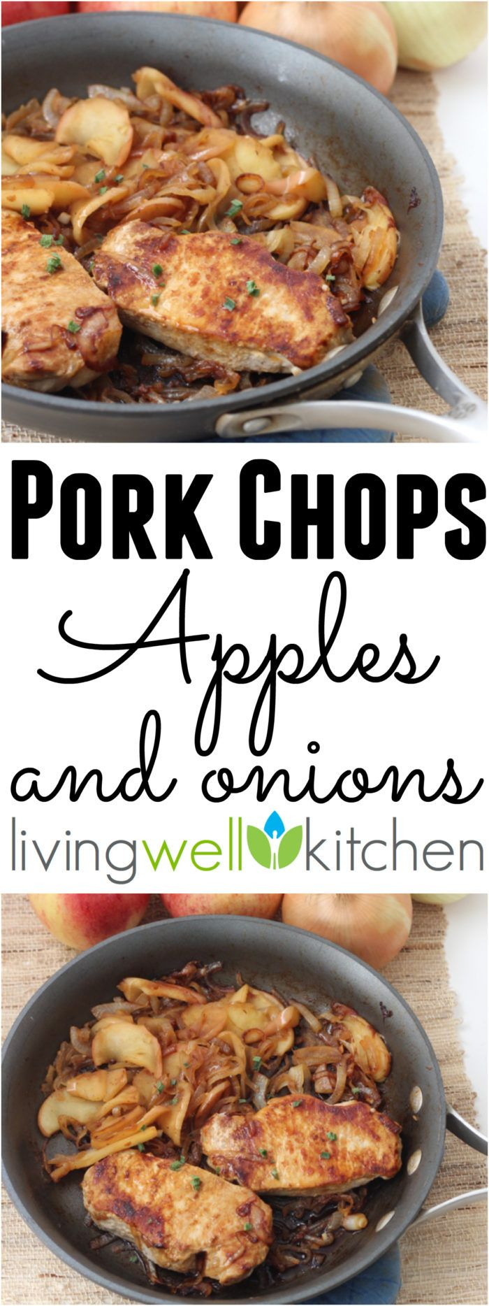 An easy one skillet meal that packs in the fall flavor with sweet caramelized onions and apples to balance out the savory pork. Pork Chops, Apples and Onions recipe is a healthy, gluten free, dairy free dinner idea