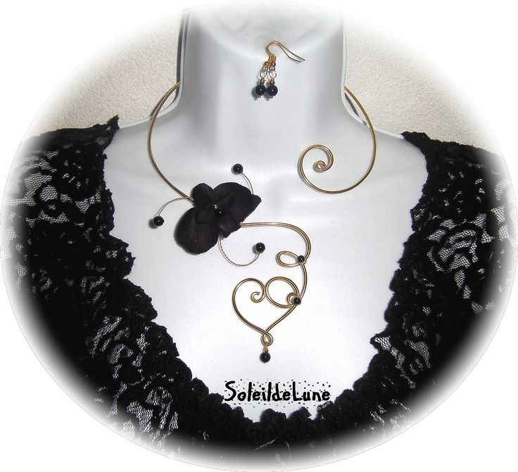 Collier Fleur Orchidée noire Perles Coeur métal alu doré+BO Mariage fête soirée cérémonie : Collier par soleildelune-bijoux-mariage