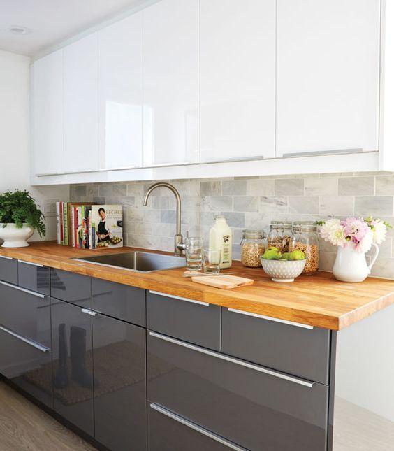 Basement kitchen design (tips from designer Samantha Pynn): White Upper Cabinets - Chatelaine