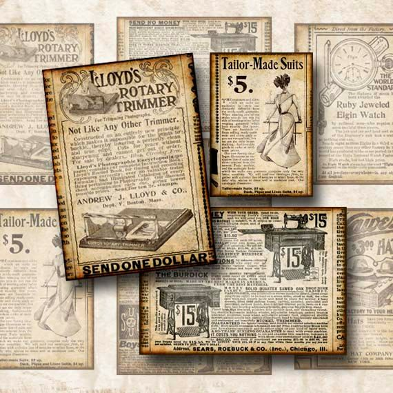 Digital Collage Sheet Vintage Newspaper Advertisements Backgrounds Hang Tags ATC ACEO  Instant Download ATC111