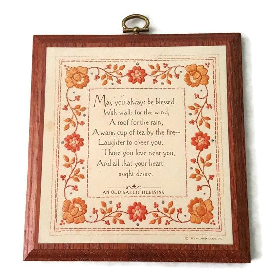 Old Gaelic Blessing Wood Wall Plaque by Hallmark 1983 May You Always Be Blessed Poem Orange Flower by ThriftyTheresa