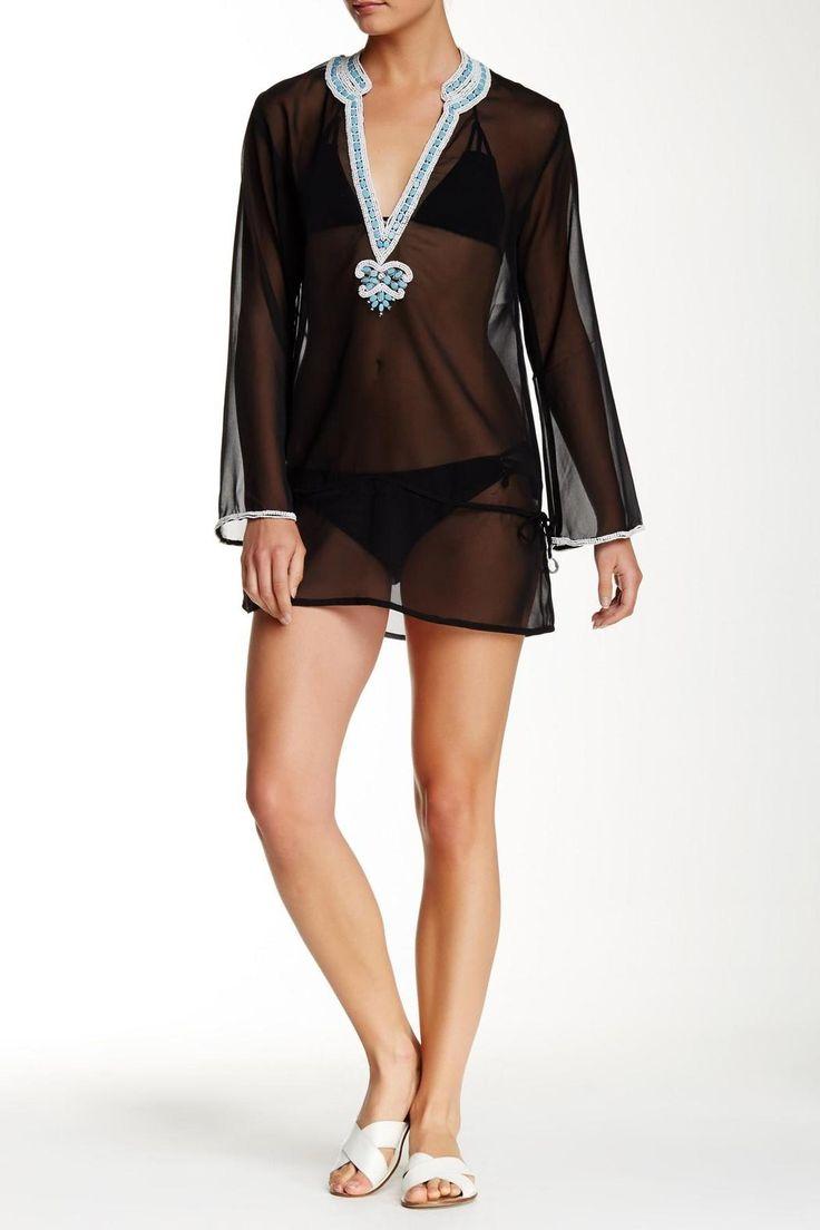 Black Tunic with white and turquoise beading.   Black Tunic  by Kareena's. Clothing - Swimwear - Cover Ups California